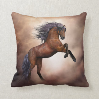 Friesian brown horse rearing up with misty clouds cushion