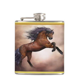Friesian brown horse rearing up with misty clouds hip flask