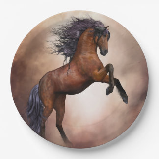 Friesian brown horse rearing up with misty clouds paper plate