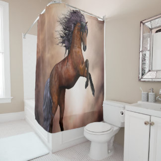 Friesian brown horse rearing up with misty clouds shower curtain