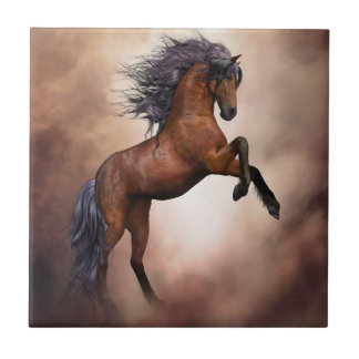 Friesian brown horse rearing up with misty clouds tile