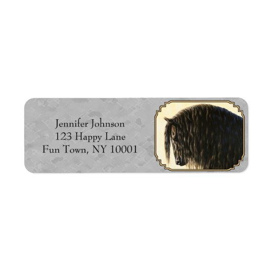 Friesian Draught   Horse Silver Grey Return Address Label