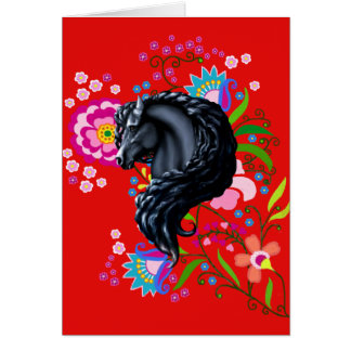 Friesian Folk, horse, black stallion Card