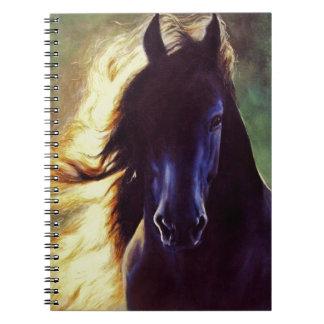 """Friesian Glow"" black horse, stallion Notebooks"