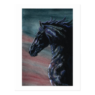 Friesian Horse Art Postcard