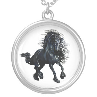 friesian horse black stallion running round pendant necklace