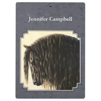 Friesian Horse Dark Slate Gray Clipboard