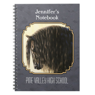 Friesian Horse Dark Slate Gray Notebook