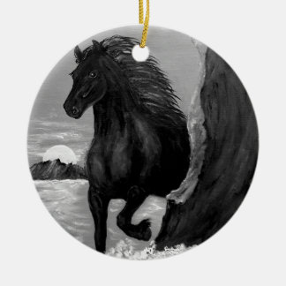 Friesian Horse in the Surf Ceramic Ornament