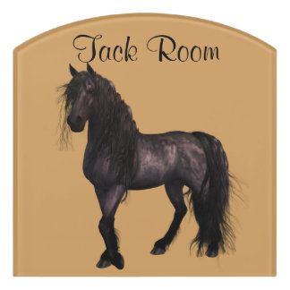 Friesian Horse Room Sign, Customize Color & Name Door Sign
