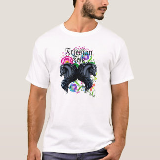 friesian horse, stallion, folk flowers T-Shirt