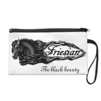 Friesian horse, stallion, the black beautyBagettes Wristlet Clutch