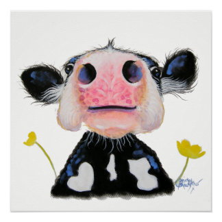 Friesian Nosey Cow ' DAFFODIL ' Print Poster