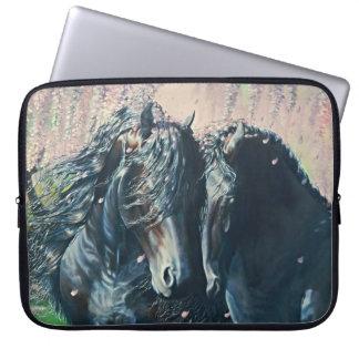 """Friesian Romance"" black stallion and mare Laptop Sleeve"