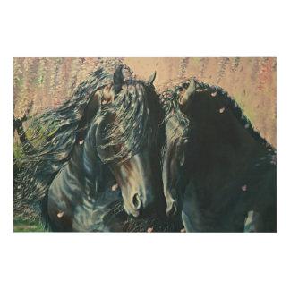 """Friesian Romance"" black stallion and mare Wood Prints"