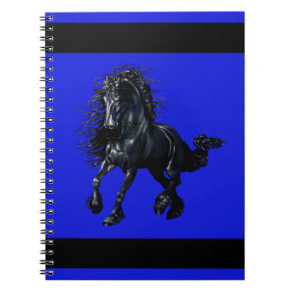 Friesian stallion, black beauty horse, blue notebook