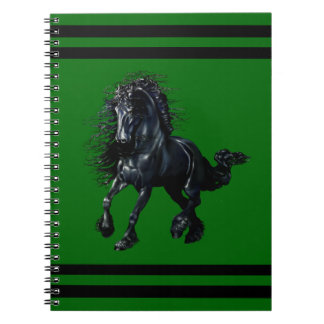 Friesian stallion, black beauty horse, green notebook