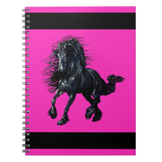 Friesian stallion, black beauty horse, pink notebook