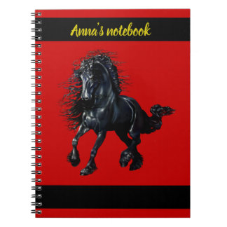 Friesian stallion, black beauty horse, red/name notebook