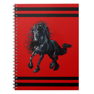 Friesian stallion, black beauty horse, red notebook