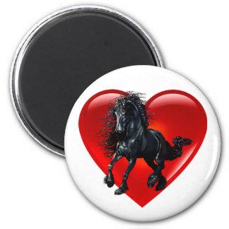 Friesian stallion horse red heart love magnet