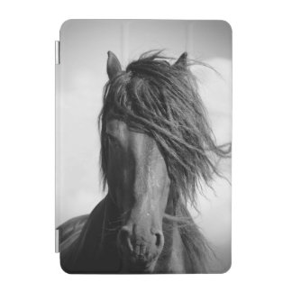 Friesian stallion in the wind. iPad mini cover