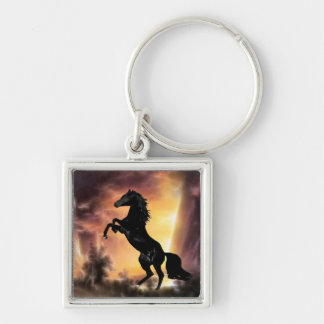 Friesian stallion rearing Silver-Colored square key ring