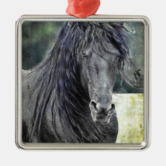 Friesian Stallion Silver-Colored Square Decoration