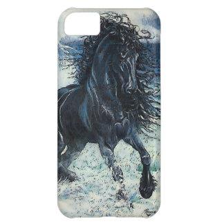 """Friesian Storm"" black stallion, cartooned iPhone 5C Case"