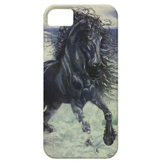 """Friesian Storm"" black stallion in ocean Case For The iPhone 5"