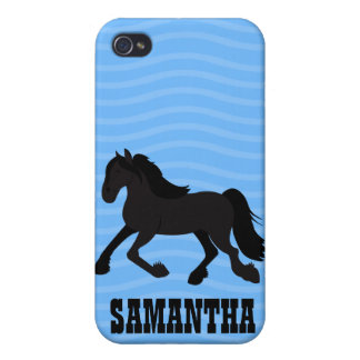 Friesian Warmblood Horse Iphone 4 Custom Case Blue Case For The iPhone 4