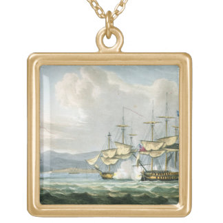 Frigate action in Vizagapatam Roads, off India, 18 Gold Plated Necklace