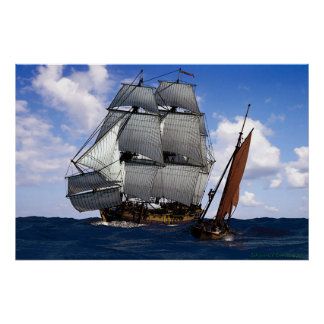 frigate with small sailing boat poster