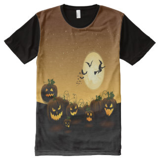 Fright Night Halloween Pumpkins All-Over Print T-Shirt