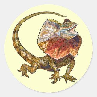 frill necked lizard round sticker
