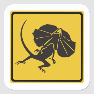 Frill-necked Lizards Crossing, Traffic Sign, AU Square Sticker