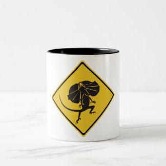 Frill-necked Lizards Crossing, Traffic Sign, AU Two-Tone Coffee Mug