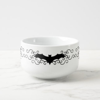 Frilly Halloween bat design Soup Bowl With Handle