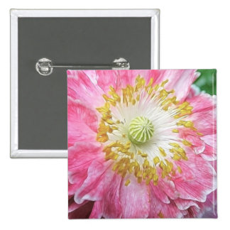 Frilly Pink Poppy Pinback Button