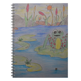Frippy the Frog eyeing up his lunch Spiral Notebook