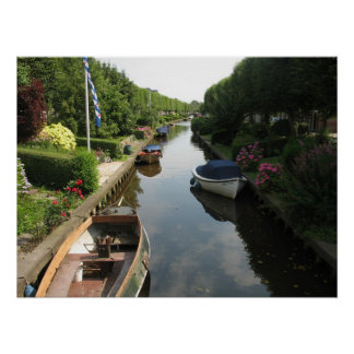 Frisian Canal with Boats Photo Poster Art