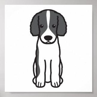 Frisian Water Dog Cartoon Poster