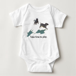 Frisking Cairn Terriers Romper- Take Time to Play Baby Bodysuit