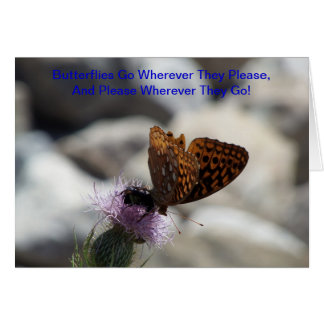 Fritillary Butterfly On Thistle Card