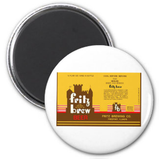 FRITZ BREW CONE TOP BEER CAN DESIGN FREEPORT ILL 6 CM ROUND MAGNET