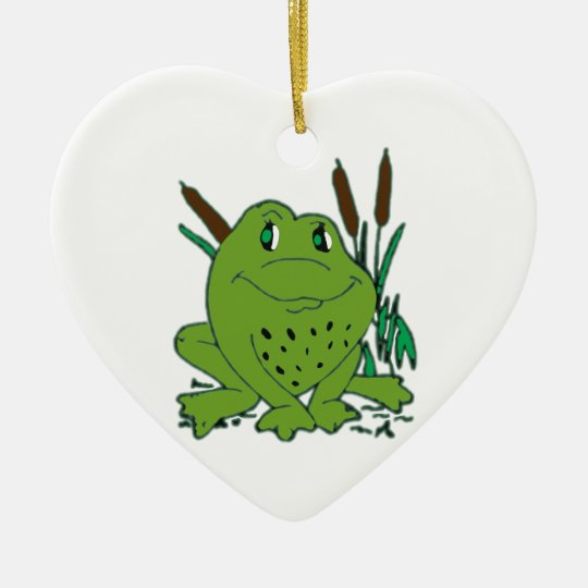 Frog 3 ceramic heart decoration