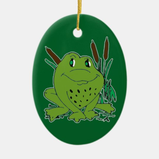 Frog 3 ceramic oval decoration