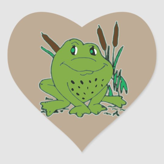 Frog 3 heart sticker