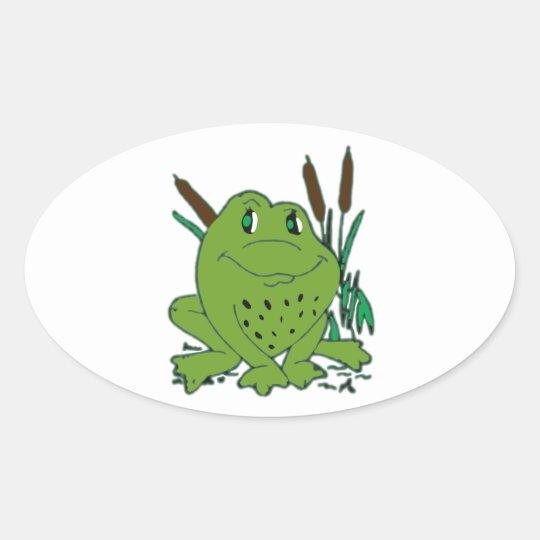 Frog 3 oval sticker