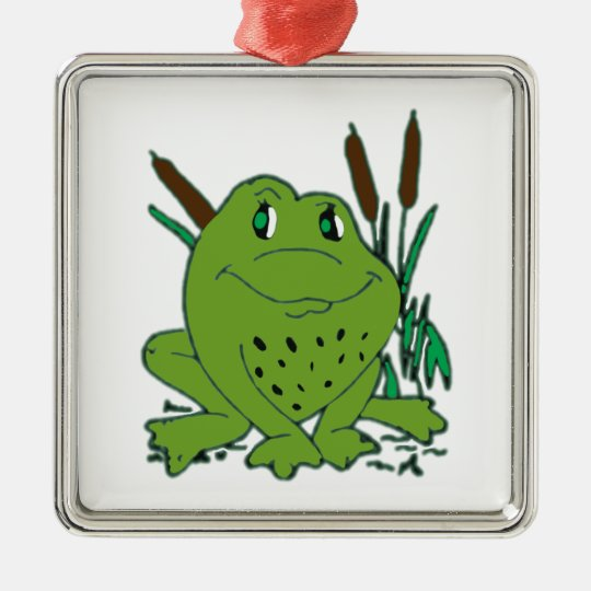 Frog 3 Silver-Colored square decoration